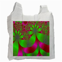 Green And Pink Fractal Recycle Bag (one Side)