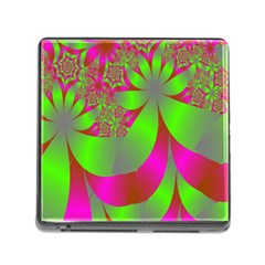 Green And Pink Fractal Memory Card Reader (square) by Simbadda