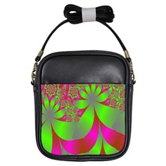 Green And Pink Fractal Girls Sling Bags by Simbadda