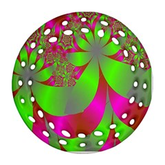 Green And Pink Fractal Round Filigree Ornament (two Sides) by Simbadda