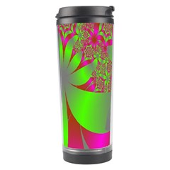 Green And Pink Fractal Travel Tumbler by Simbadda