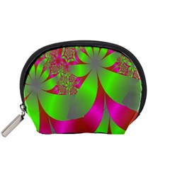 Green And Pink Fractal Accessory Pouches (small)  by Simbadda