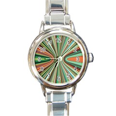 Colorful Spheric Background Round Italian Charm Watch by Simbadda