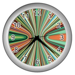 Colorful Spheric Background Wall Clocks (silver)  by Simbadda