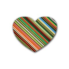 Colorful Stripe Background Rubber Coaster (heart)  by Simbadda