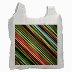 Colorful Stripe Background Recycle Bag (one Side) by Simbadda