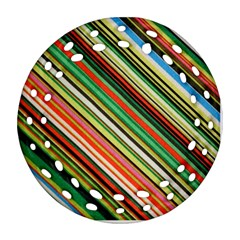 Colorful Stripe Background Ornament (round Filigree) by Simbadda
