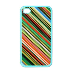 Colorful Stripe Background Apple Iphone 4 Case (color) by Simbadda