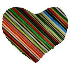 Colorful Stripe Background Large 19  Premium Heart Shape Cushions by Simbadda