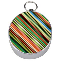 Colorful Stripe Background Silver Compasses by Simbadda