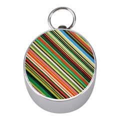 Colorful Stripe Background Mini Silver Compasses by Simbadda