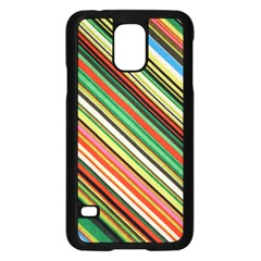Colorful Stripe Background Samsung Galaxy S5 Case (black) by Simbadda