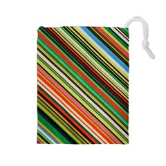 Colorful Stripe Background Drawstring Pouches (large)  by Simbadda