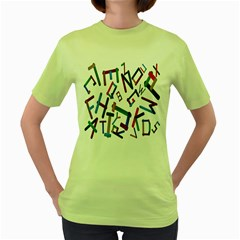 Colorful Letters From Wood Ice Cream Stick Isolated On White Background Women s Green T Shirt by Simbadda