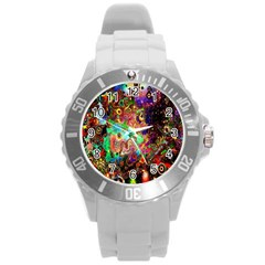Alien World Digital Computer Graphic Round Plastic Sport Watch (l) by Simbadda