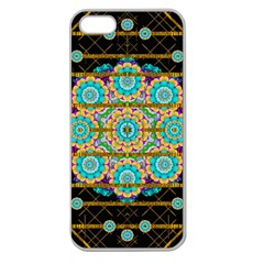 Gold Silver And Bloom Mandala Apple Seamless Iphone 5 Case (clear) by pepitasart