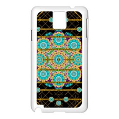 Gold Silver And Bloom Mandala Samsung Galaxy Note 3 N9005 Case (white) by pepitasart