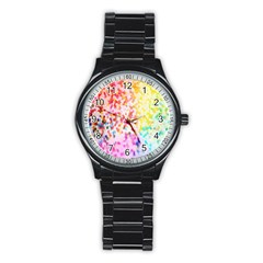 Colorful Colors Digital Pattern Stainless Steel Round Watch by Simbadda