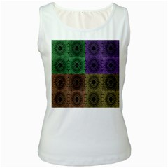 Creative Digital Pattern Computer Graphic Women s White Tank Top by Simbadda