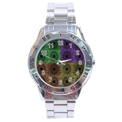 Creative Digital Pattern Computer Graphic Stainless Steel Analogue Watch by Simbadda
