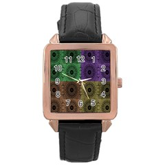 Creative Digital Pattern Computer Graphic Rose Gold Leather Watch  by Simbadda