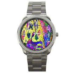 Grunge Abstract Yellow Hand Grunge Effect Layered Images Of Texture And Pattern In Yellow White Black Sport Metal Watch by Simbadda