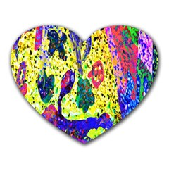 Grunge Abstract Yellow Hand Grunge Effect Layered Images Of Texture And Pattern In Yellow White Black Heart Mousepads by Simbadda