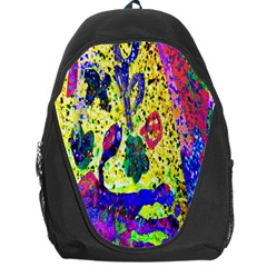Grunge Abstract Yellow Hand Grunge Effect Layered Images Of Texture And Pattern In Yellow White Black Backpack Bag by Simbadda