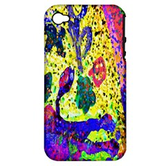 Grunge Abstract Yellow Hand Grunge Effect Layered Images Of Texture And Pattern In Yellow White Black Apple Iphone 4/4s Hardshell Case (pc+silicone)