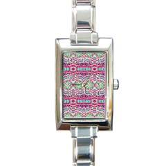 Colorful Seamless Background With Floral Elements Rectangle Italian Charm Watch by Simbadda