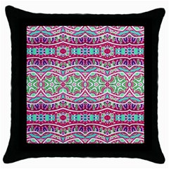 Colorful Seamless Background With Floral Elements Throw Pillow Case (black) by Simbadda