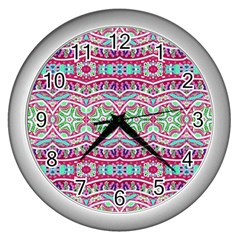 Colorful Seamless Background With Floral Elements Wall Clocks (silver)  by Simbadda