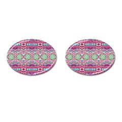 Colorful Seamless Background With Floral Elements Cufflinks (oval) by Simbadda