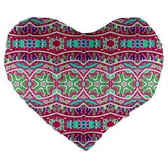 Colorful Seamless Background With Floral Elements Large 19  Premium Flano Heart Shape Cushions by Simbadda