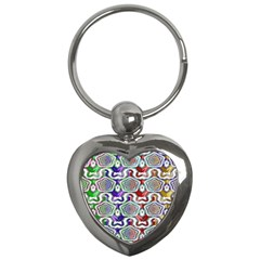 Digital Patterned Ornament Computer Graphic Key Chains (heart)  by Simbadda