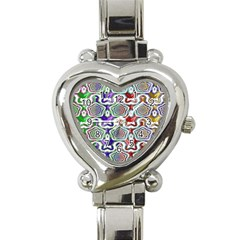 Digital Patterned Ornament Computer Graphic Heart Italian Charm Watch by Simbadda