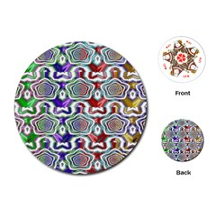 Digital Patterned Ornament Computer Graphic Playing Cards (round)  by Simbadda