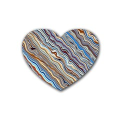 Fractal Waves Background Wallpaper Pattern Rubber Coaster (heart)  by Simbadda