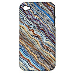 Fractal Waves Background Wallpaper Pattern Apple Iphone 4/4s Hardshell Case (pc+silicone) by Simbadda