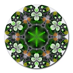 Green Flower In Kaleidoscope Round Mousepads