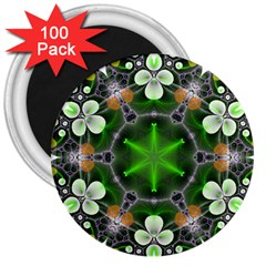 Green Flower In Kaleidoscope 3  Magnets (100 Pack) by Simbadda