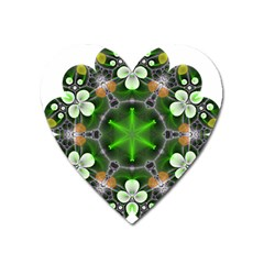 Green Flower In Kaleidoscope Heart Magnet by Simbadda