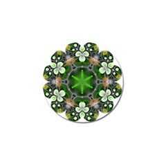 Green Flower In Kaleidoscope Golf Ball Marker
