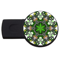 Green Flower In Kaleidoscope Usb Flash Drive Round (2 Gb) by Simbadda