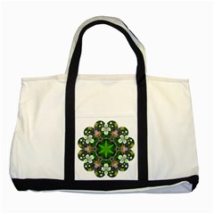 Green Flower In Kaleidoscope Two Tone Tote Bag by Simbadda