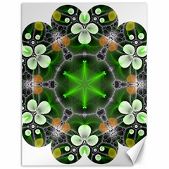 Green Flower In Kaleidoscope Canvas 18  X 24   by Simbadda