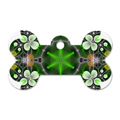 Green Flower In Kaleidoscope Dog Tag Bone (two Sides) by Simbadda