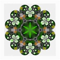 Green Flower In Kaleidoscope Medium Glasses Cloth (2 Side) by Simbadda