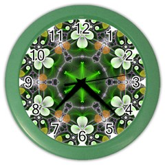 Green Flower In Kaleidoscope Color Wall Clocks by Simbadda