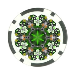 Green Flower In Kaleidoscope Poker Chip Card Guard (10 Pack) by Simbadda